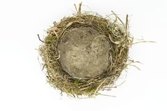 Bird nest. Top view of bird nest made from grass, moss, leaves and branches on white background stock photo