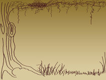 Bird nest on tree hand drawn. A tree with a bird nest and some litter stock illustration
