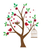 Bird Nest. Vector bird nest, birds, hearts in the tree with bird cage Royalty Free Stock Images