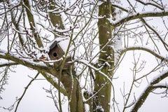 Bird nesting box on tree covered by snow - horizontal Stock Photography
