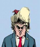 Bird Nesting in Donald Trump Hairdo Royalty Free Stock Photo