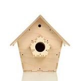 Bird nesting house made of wood isolated Stock Photos