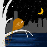 Bird with night city Royalty Free Stock Images