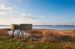 Bird observation platform in a nature reserve Stock Images