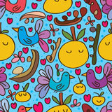 Bird orange cute seamless pattern Royalty Free Stock Photo
