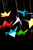 Bird Origami. A flock of bird origamis Royalty Free Stock Photo