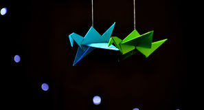 Bird Origami. A flock of bird origamis Royalty Free Stock Images