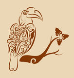Bird ornament 01. Bird drawing with floral ornament decoration. Use for tattoo or any design you want Royalty Free Stock Photos