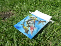 Bird painting in children art class room. Outdoor kid painting class on green lawn in the park stock photos