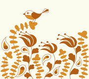Bird and Paisley Floral Background Stock Image