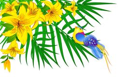 Bird on palm with flower Royalty Free Stock Photos