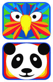 Bird and Panda Masks. Colourful bird and panda masks for children stock illustration