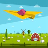 Bird on Paper Plane with Farm on Field. On Background royalty free illustration