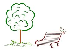 Bird, park bench, green tree Stock Images