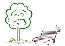 Bird, park bench, green tree Stock Images