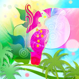 Bird-parrot. Abstract Background with  fantasy bird Royalty Free Stock Photography