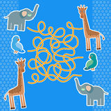 Bird parrot elephant and giraffe on blue background labyrinth game for Preschool Children. Vector Stock Photography