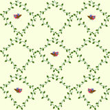 Bird pattern. Seamless repeating pattern with climbing plants Stock Illustration