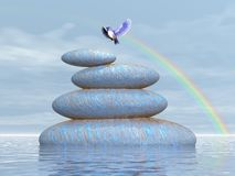 Bird peace - 3D render. Beautiful blue bird flying upon stones in water under rainbow by clear day Royalty Free Stock Image