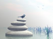 Bird peace - 3D render. Beautiful blue bird upon stones in water next to grass by clear morning light Royalty Free Stock Photos