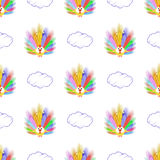 Bird peacock and cloud. seamless pattern Royalty Free Stock Photo