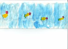 A bird is pecking kernels. Drawing by a child, tempera and pencil Stock Photos