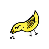 Bird pecking seed cartoon Royalty Free Stock Photos