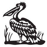 Bird pelican - black illustration - vector Stock Image