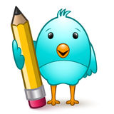 Bird with Pencil. Cartoon character bird standing holding a giant pencil Royalty Free Stock Images