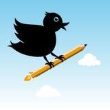 Bird with pencil rocket. Black bird with pencil rocket at the sky Stock Photos