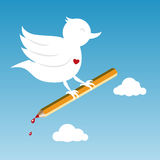 Bird with pencil. White bird with pencil at the sky Stock Photography