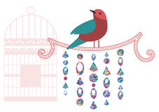 A bird  on a perch with decorative elements Stock Photography