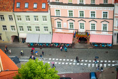 Bird perspective to people walking on the street of Vilnius Royalty Free Stock Photo