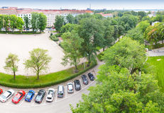 Bird perspective view on cars parking on street Stock Images