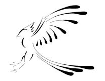 Bird Pheonix Landing, Stylized Line Art Stock Image