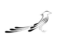 Bird Pheonix Standing, Stylized Line Art Royalty Free Stock Image