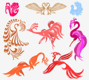 Bird phoenix glossy icon Stock Photo