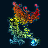 Bird Phoenix. Illustration of flying Phoenix Bird. Fire burning colibri bird with dark blue background Stock Images