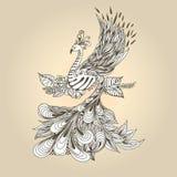 Bird Phoenix. Illustration of flying Phoenix Bird. Peacock on the beige background Royalty Free Stock Images