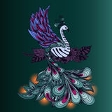 Bird Phoenix with lights on its tale. Stock Images