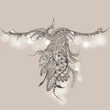 Bird Phoenix Mehndi. Illustration of flying Phoenix Bird. Vector peacock in Henna style. Mehndi design Royalty Free Stock Photography