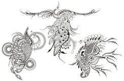 Bird Phoenix three. Peacocks for tattoo template. Royalty Free Stock Photo