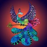 Bird Phoenix violet. Illustration of flying Phoenix Bird. Fire burning peacock bird with dark blue background Stock Image