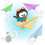 Bird pilot. Bird  pilot by airplane - vector illustration Royalty Free Stock Image