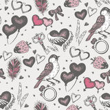 Bird with pink heart seamless vector pattern. Royalty Free Stock Images