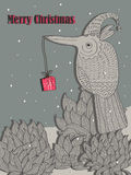 Bird Plan Send Gift To..._eps. Illustration of old feel bird plan send gift to somebody card. Merry Christmas Royalty Free Stock Images