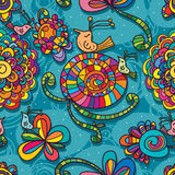 Bird plant drawing blue seamless pattern Stock Photos