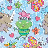Bird Play Seamless Patterm_eps Stock Photos