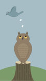Bird poops on owl. Bird flies by and poops on an owl, who is perched on a tree trunk vector illustration