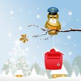 Bird postman at Christmas. Illustration of bird postman at Christmas stock illustration